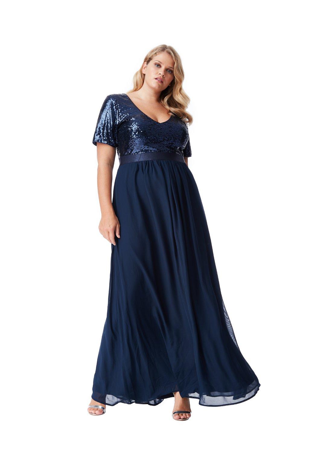 Dlouhé plesové šaty Laura tmavě modré 1