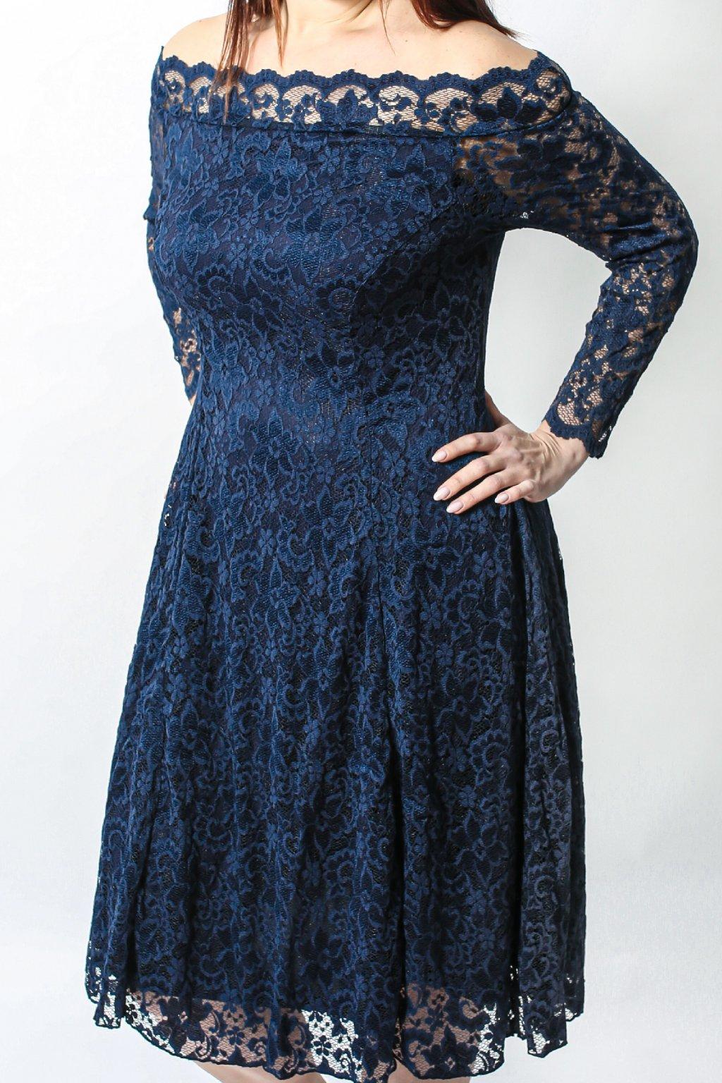Krajkové šaty Elevate s rukávem tmavě modré 6