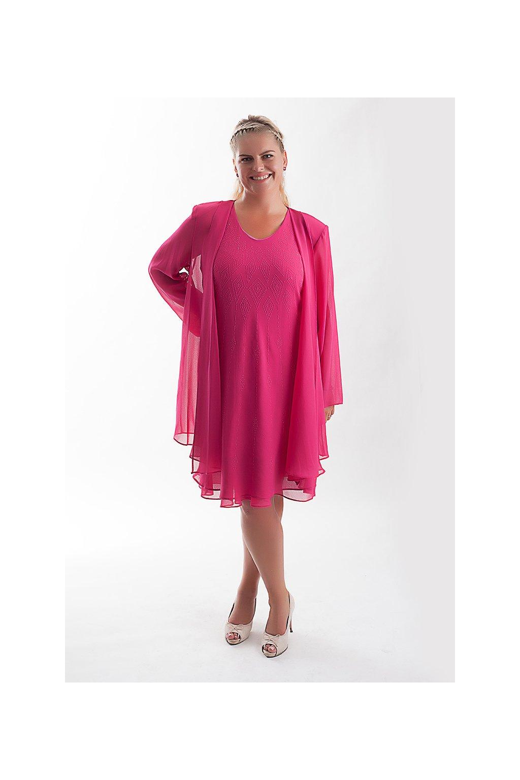 Krásné společenské šaty Lady Emilly s kabátkem růžové 4