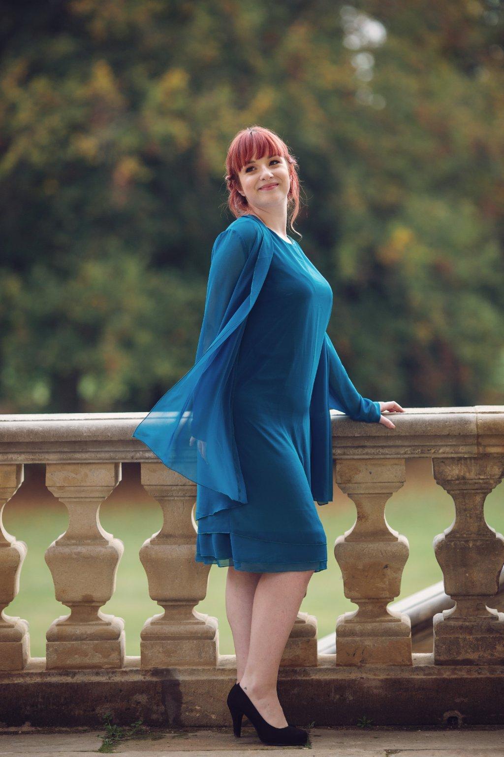 Krásné společenské šaty Lady Emilly s kabátkem petrolejové 1