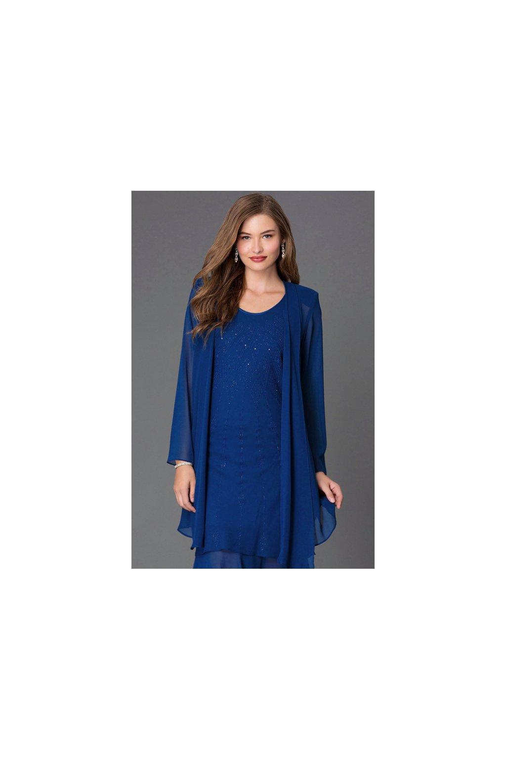 Krásné společenské šaty Lady Emilly s kabátkem tmavě modré 2