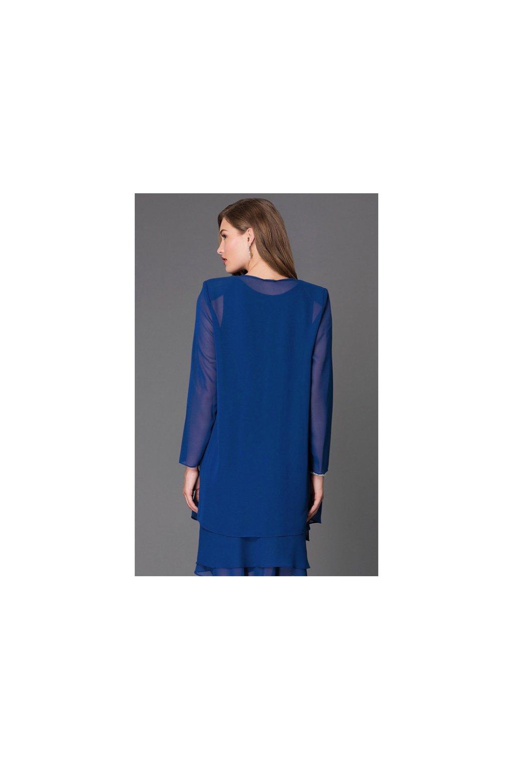 Krásné společenské šaty Lady Emilly s kabátkem tmavě modré 4