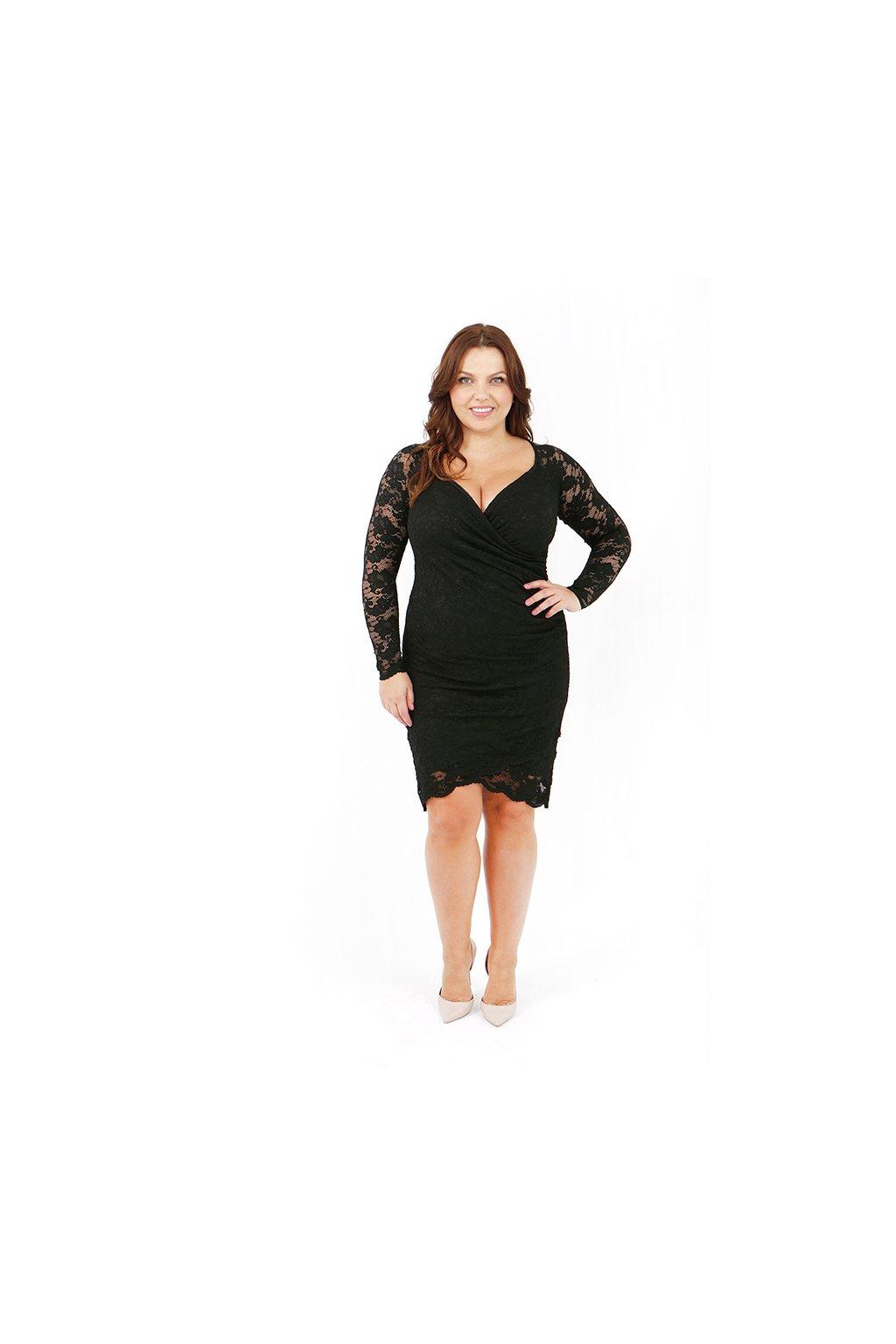 Krajkové šaty Lopez s výrazným výstřihem černé 1