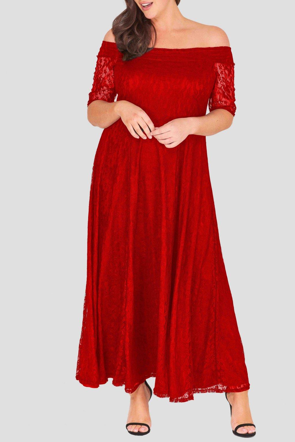 Dlouhé krajkové šaty Marble s krátkým rukávem červené 2