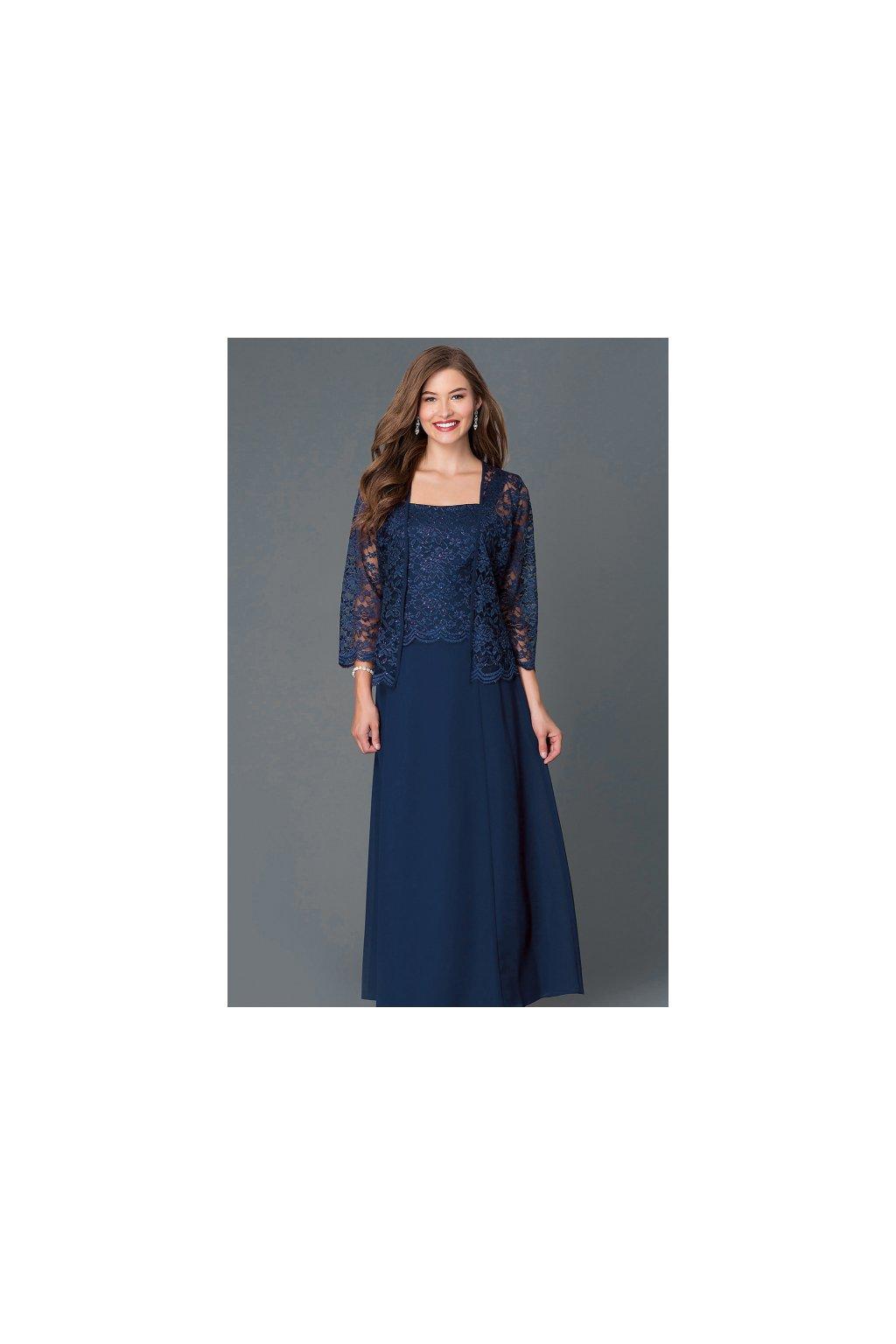 Dlouhé tmavě modré šaty Timeless s krajkovým bolérkem 1