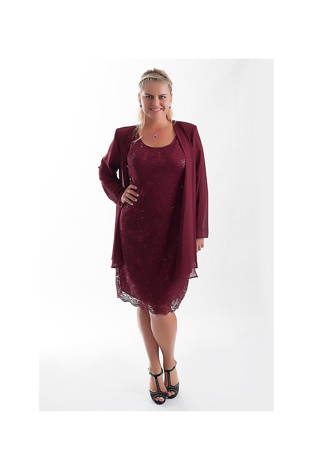 Krajkové šaty Samir se šifonovým kabátkem vinové 4