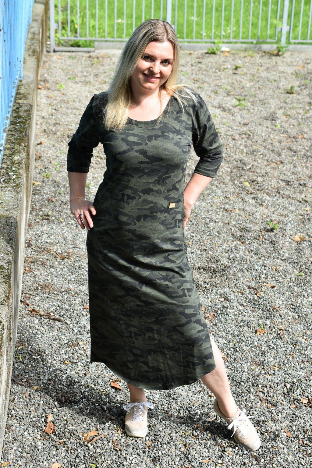 Dámské maskáčové letní šaty s třičtvtečním rukávem 5