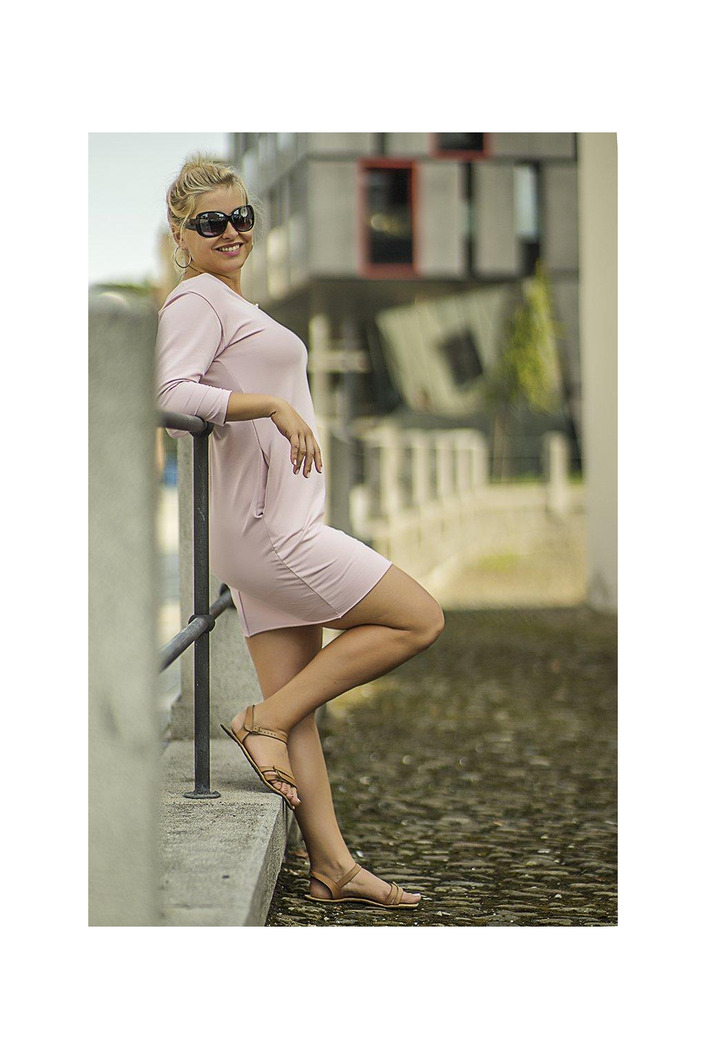 Dámské maxi šaty short pudrově růžové 8