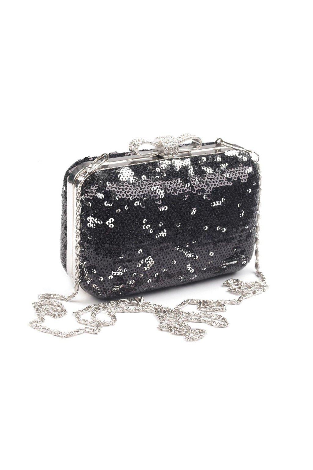 Společenská kabelka s flitry černá