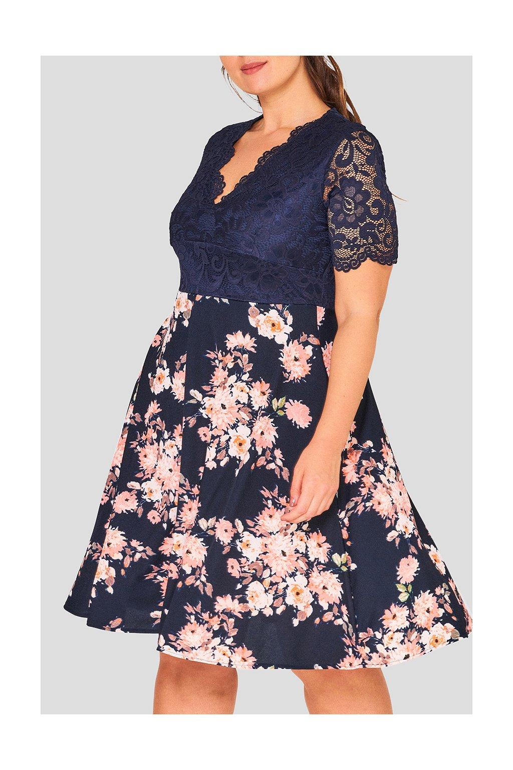 Dámské květinové šaty Cady tmavě modré 1