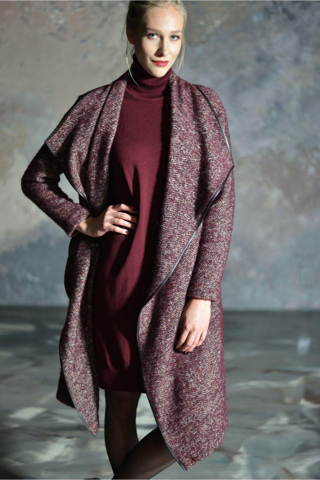 Merino roláková šaty MIK s dlouhým rukávem vínové 2