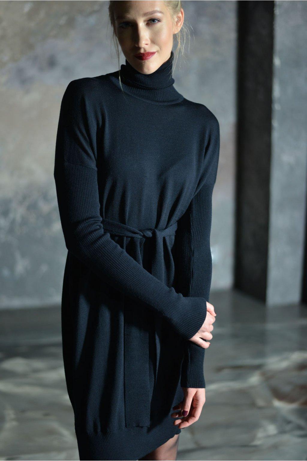 Merino rolákové šaty MIK s dlouhým rukávem černé 2