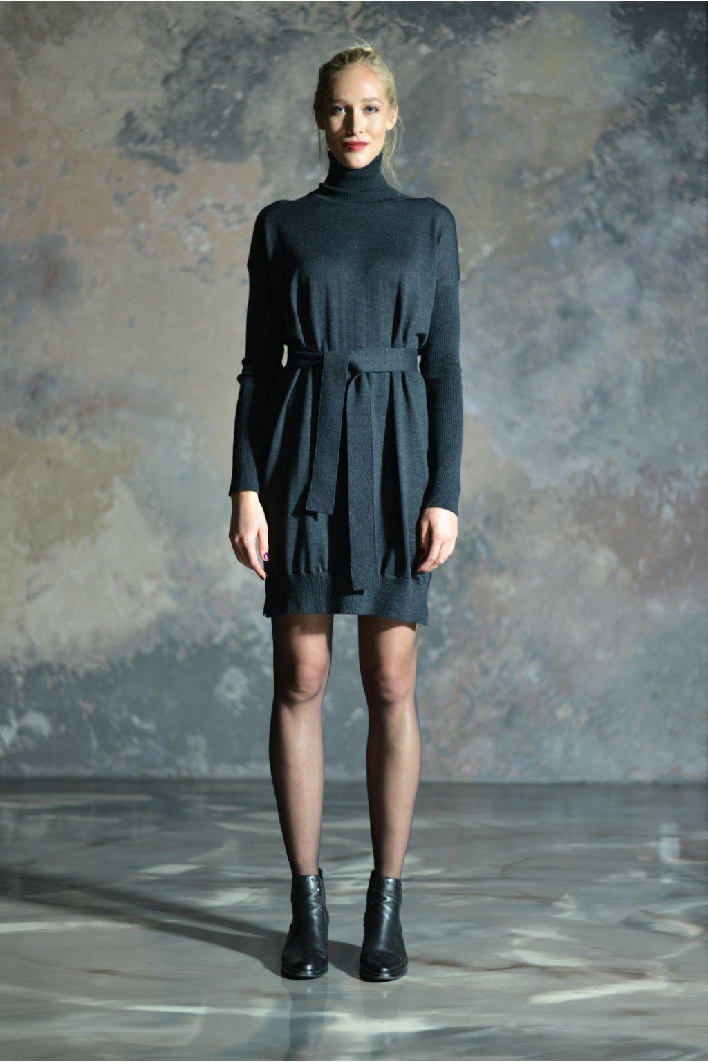 Merino rolákové šaty MIK s dlouhým rukávem antracit 1
