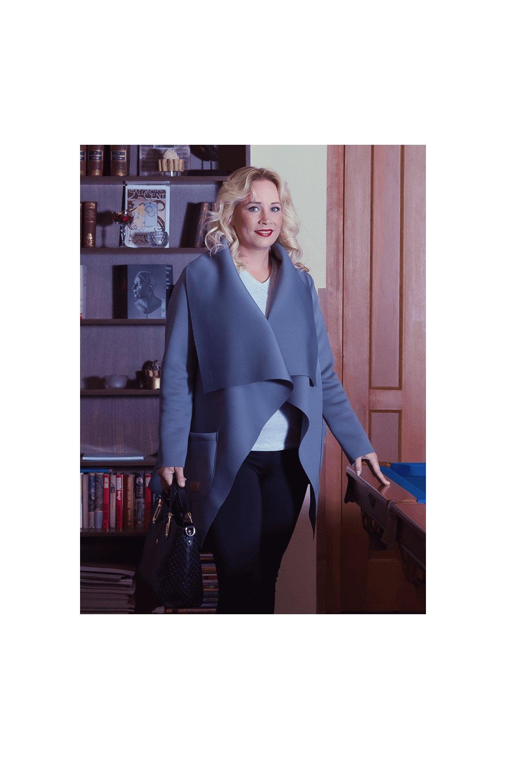 Dámský flaušový kabát šedomodrý