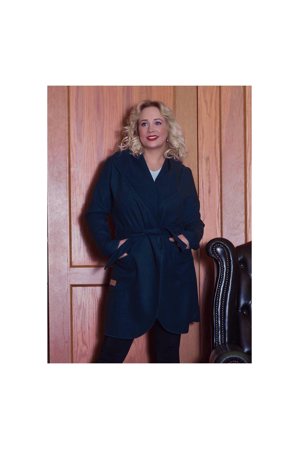 Dámský flaušový kabát tmavě modrý