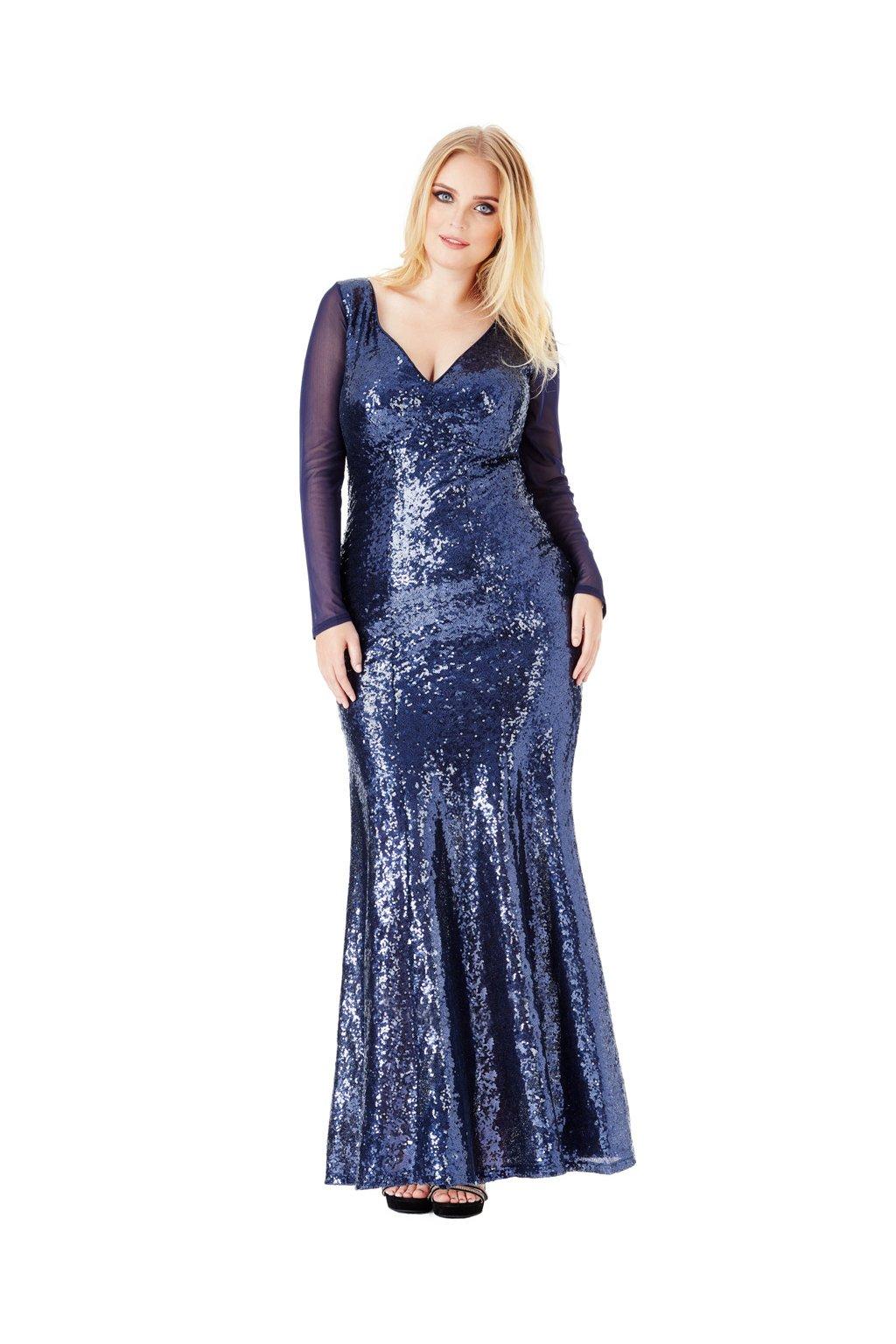 Dlouhé plesové šaty Nebesca tmavě modré