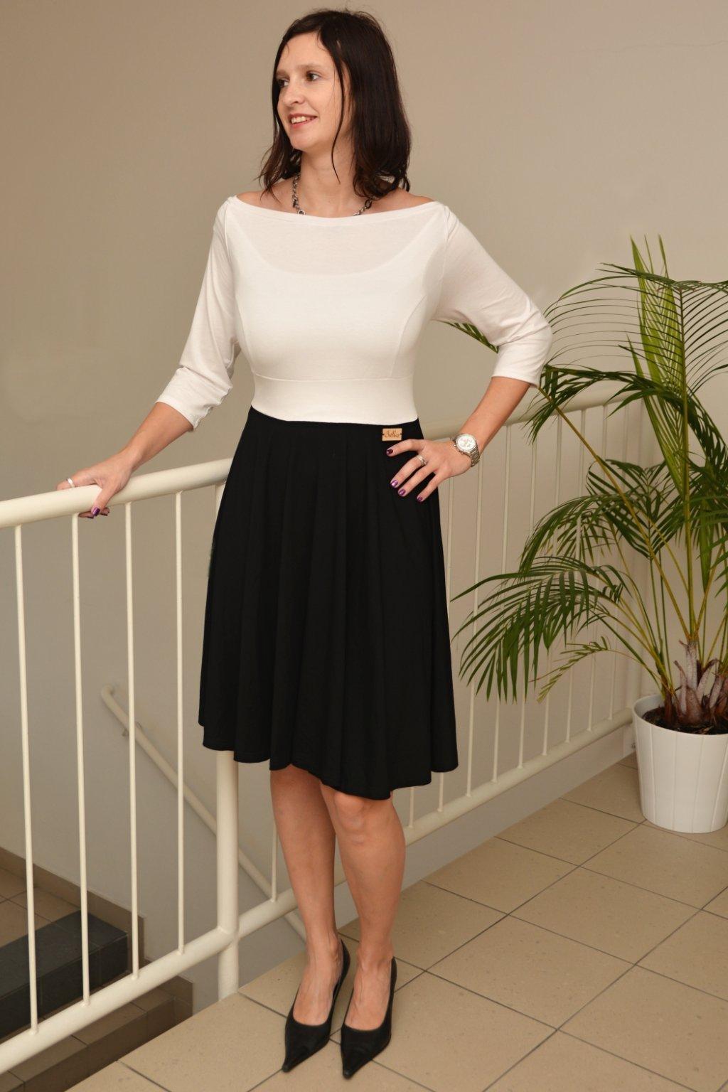 Společenské šaty Lubica černo bílé