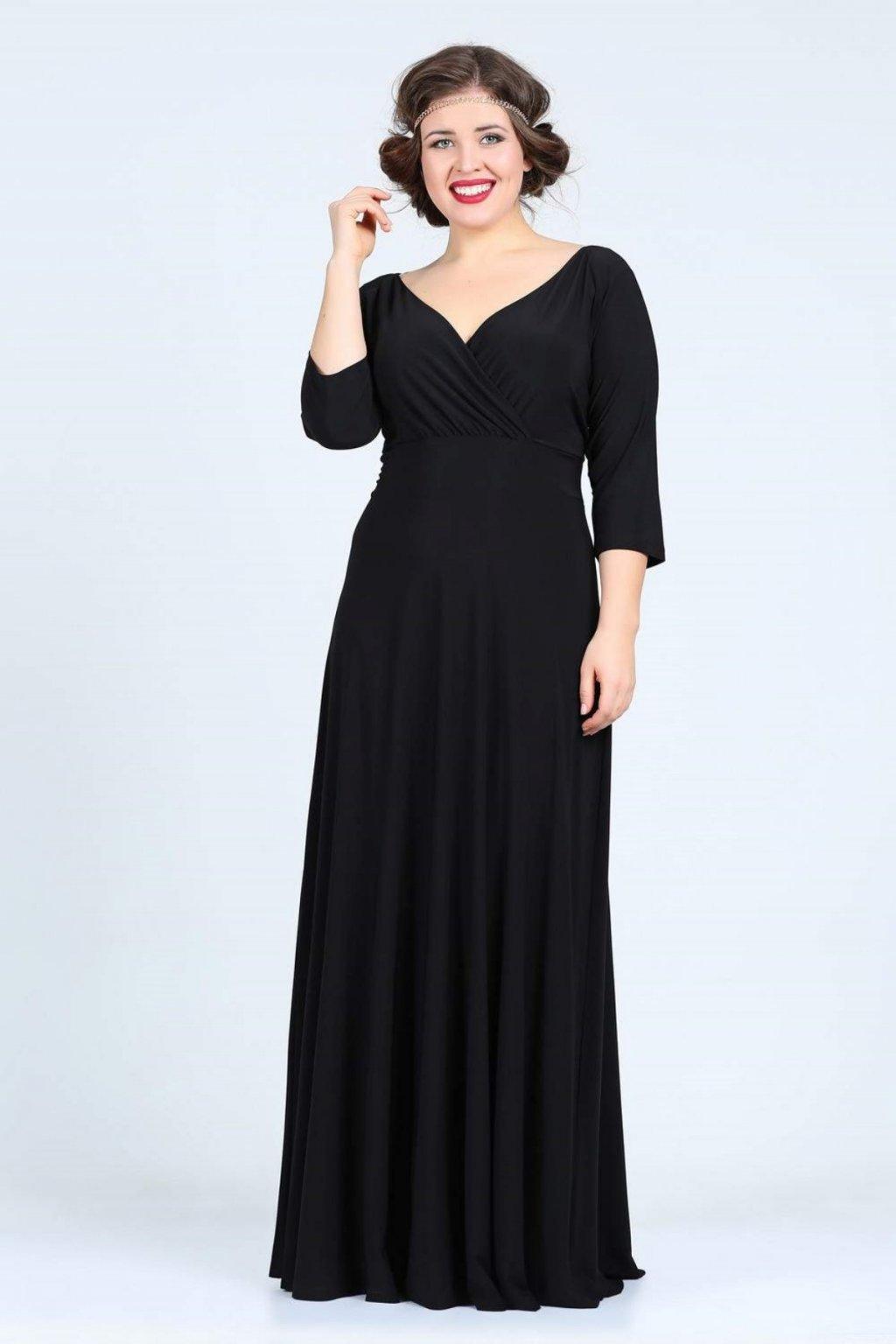 Dlouhé společenské šaty Lubica s překládaným výstřihem černé