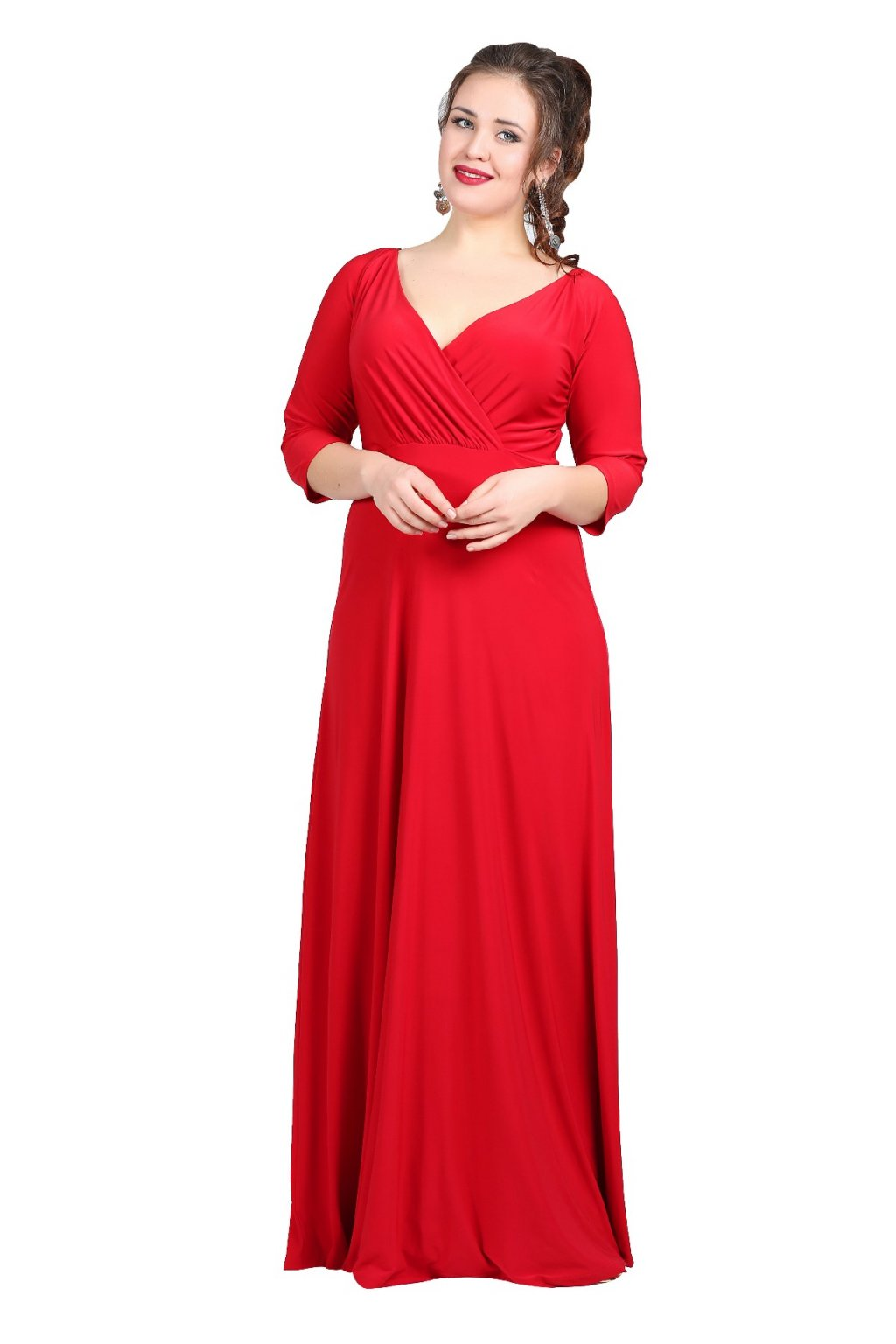 Dlouhé společenské šaty Lubica s překládaným výstřihem červené