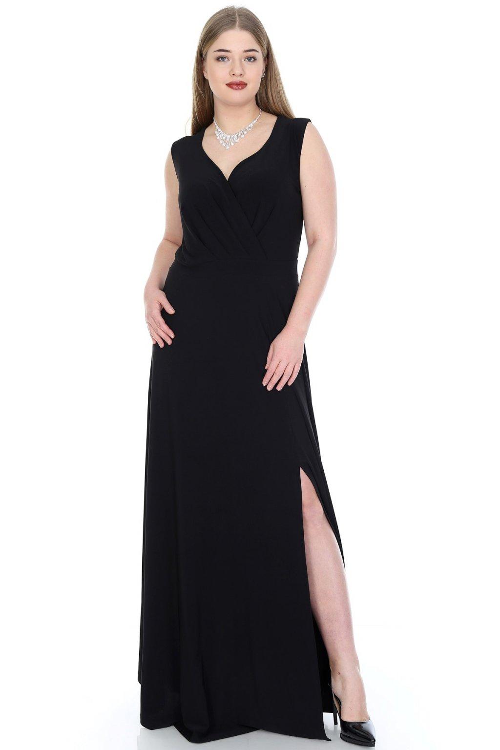 Dlouhé společenské šaty Kami s překládaným výstřihem černé