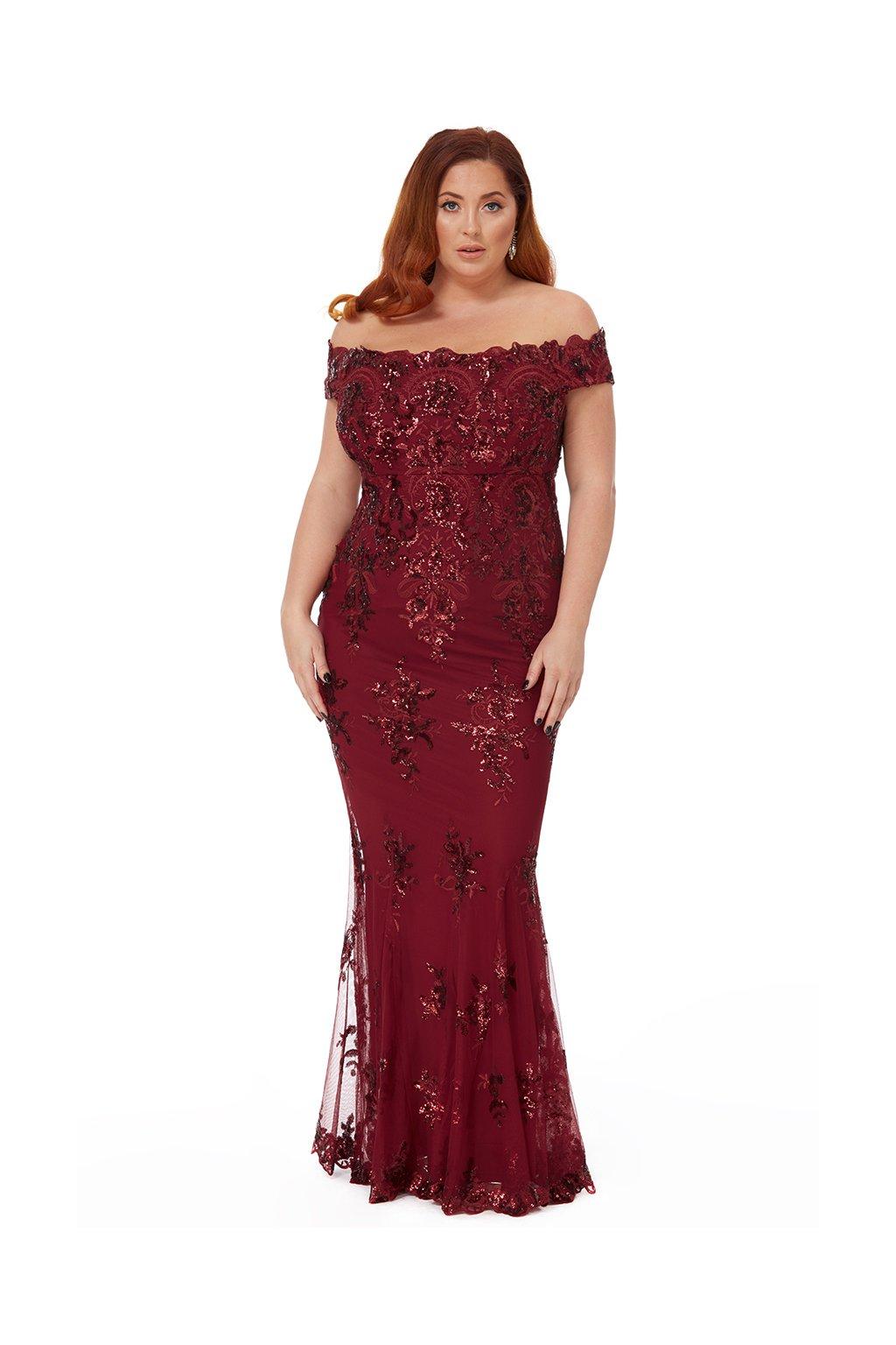 Dlouhé plesové šaty Sandra vínové