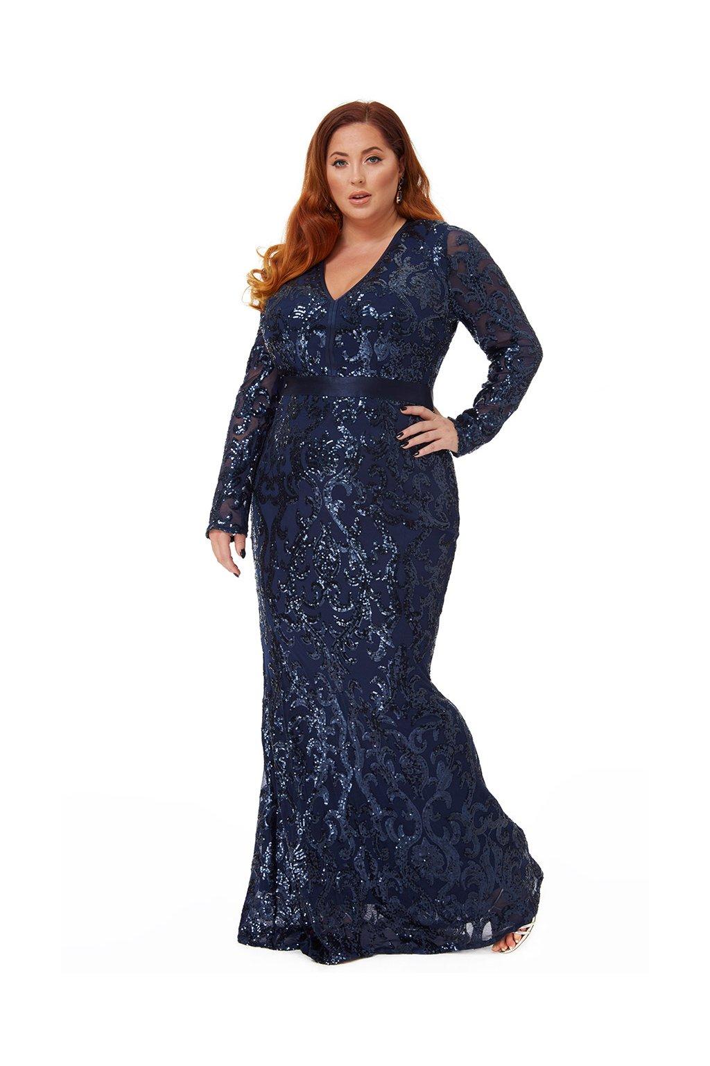 Dlouhé plesové šaty Gloria tmavě modré