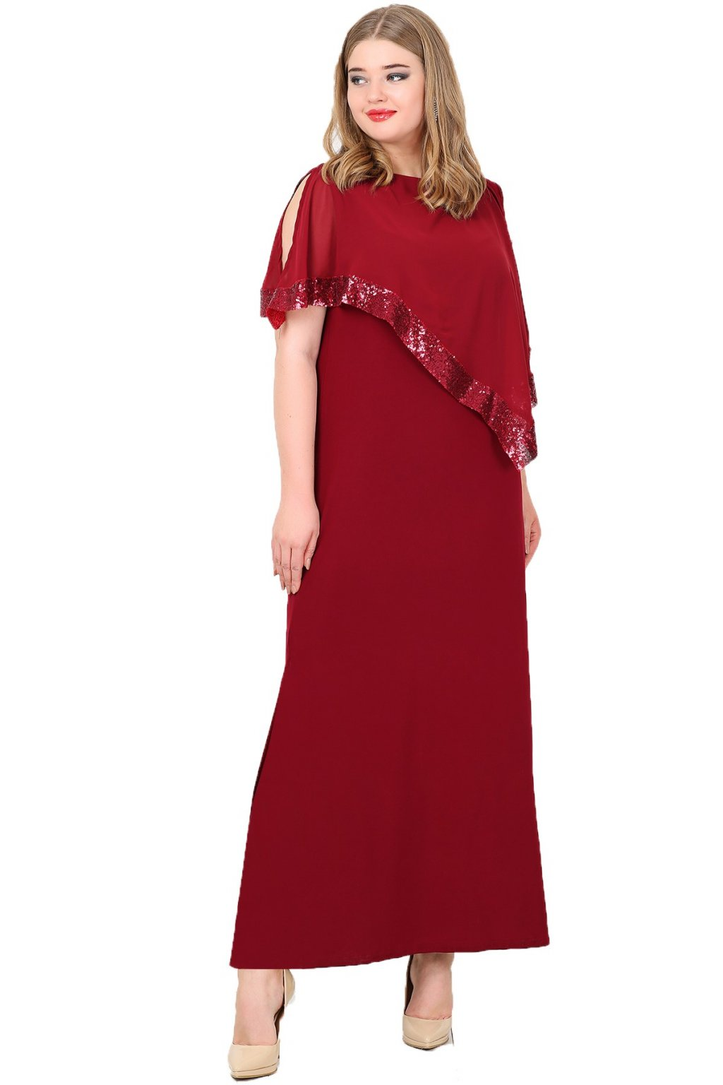 Dlouhé společenské šaty Loren vínové 1