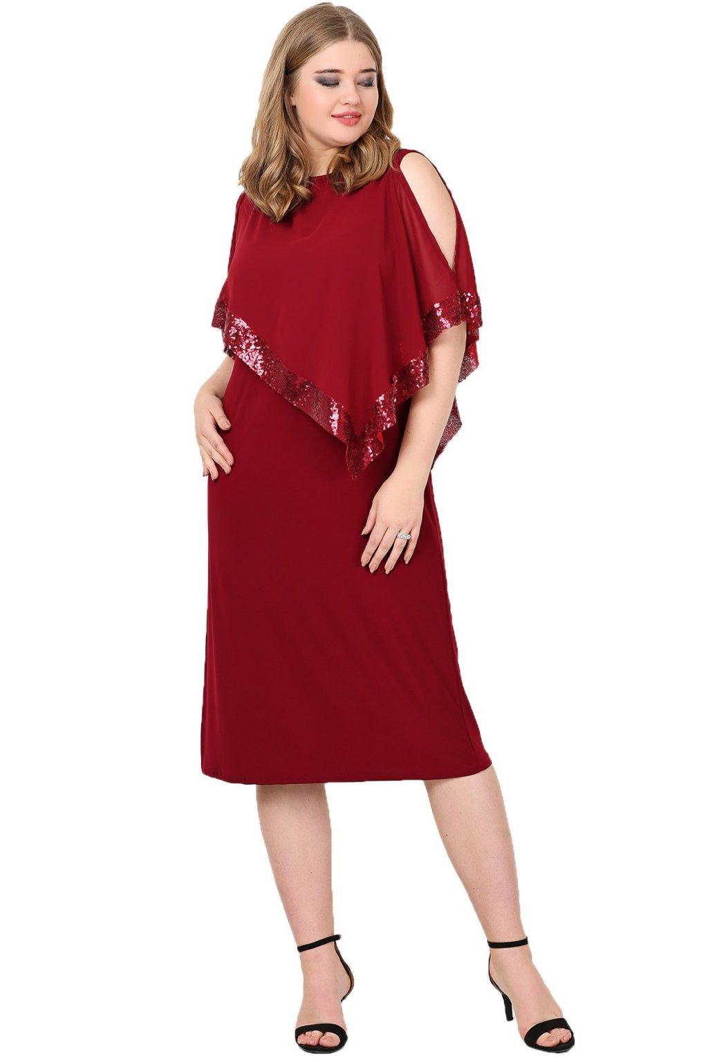 Krátké společenské šaty Loren vínové 1