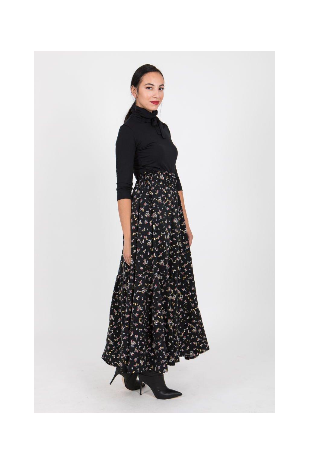 Dlouhá sukně Flora černá
