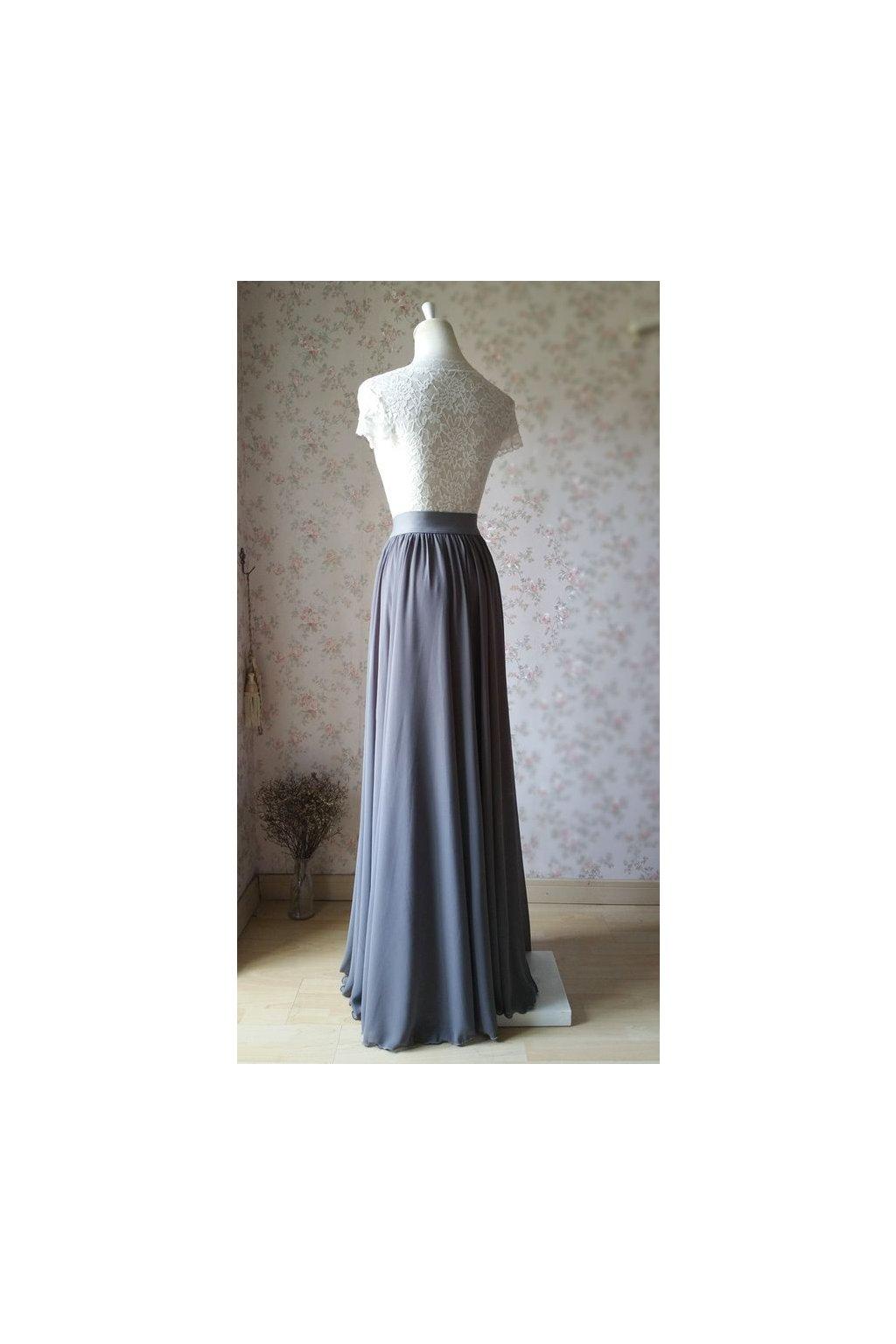 Dlouhá šifonová sukně Love šedá 2