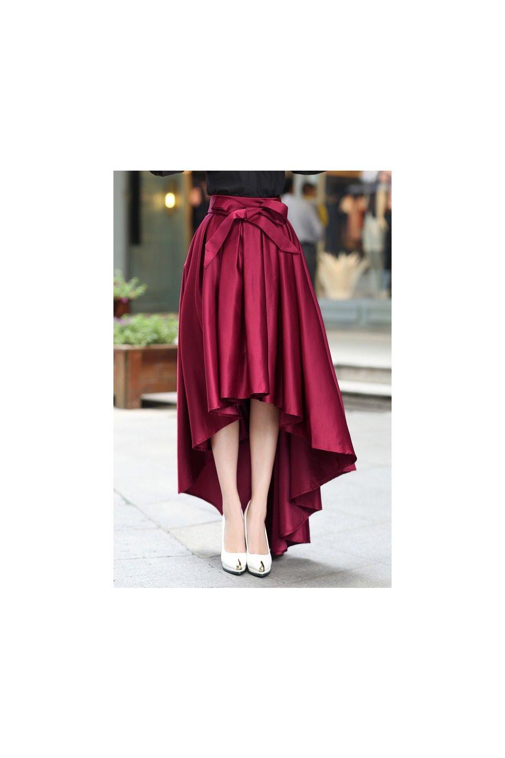 Saténová asymetrická sukně Rachel