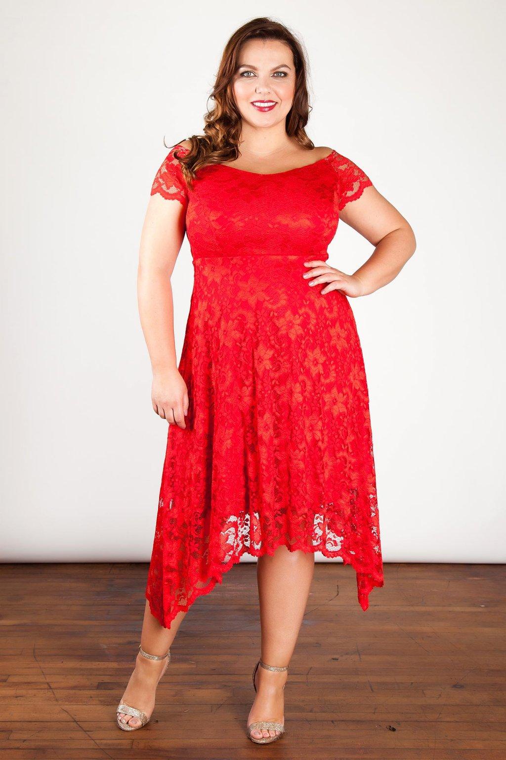 Krajkové šaty Rain s asymetrickou sukní červené 1