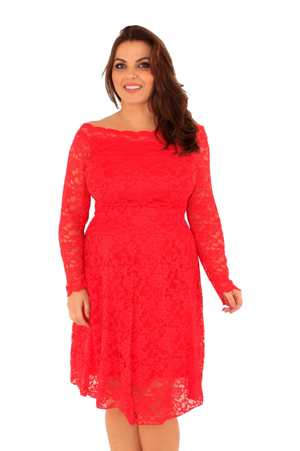 Krajkové šaty Coco s odhaleným dekoltem červené 2