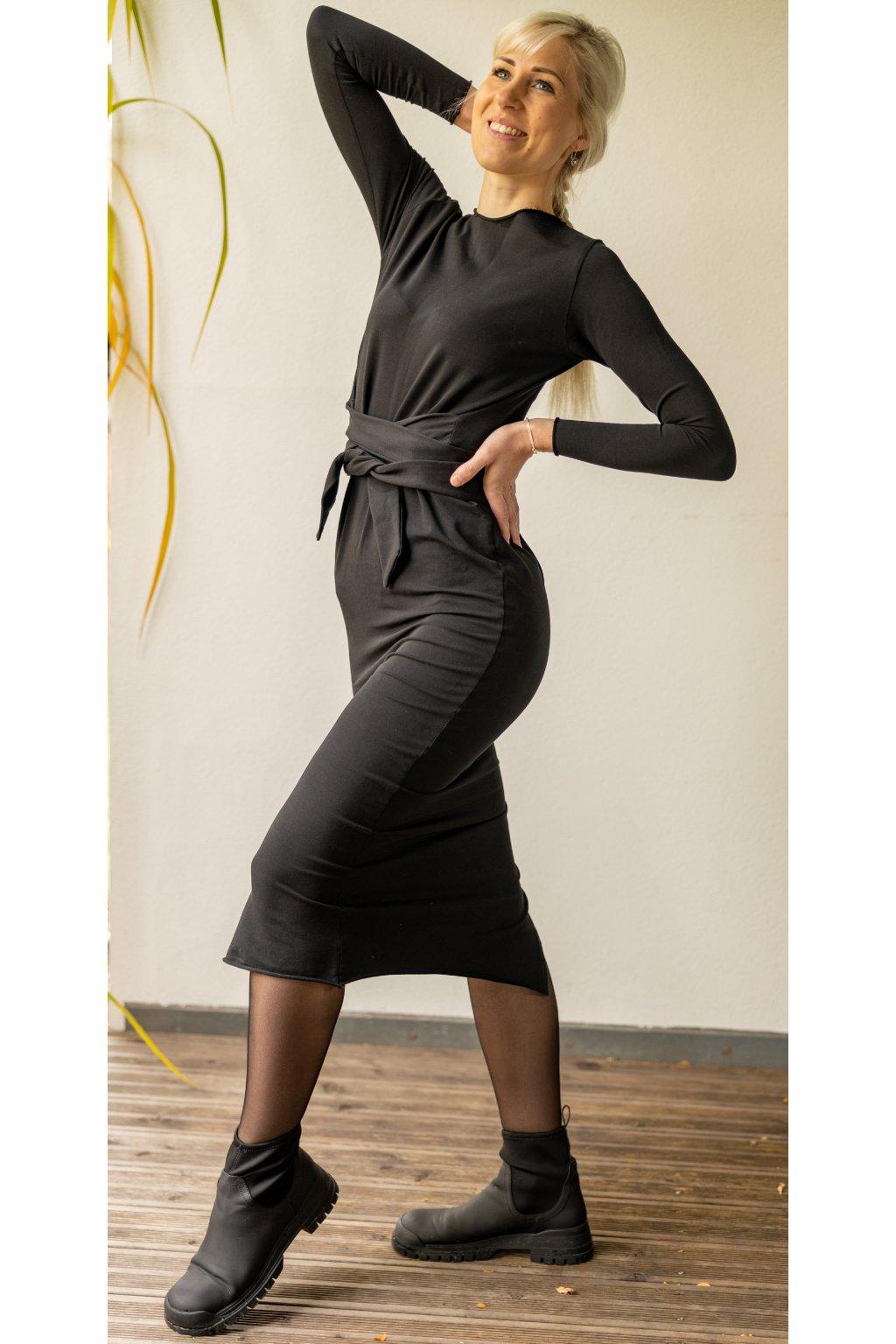 Zavinovací černé šaty Wrap Dress 6