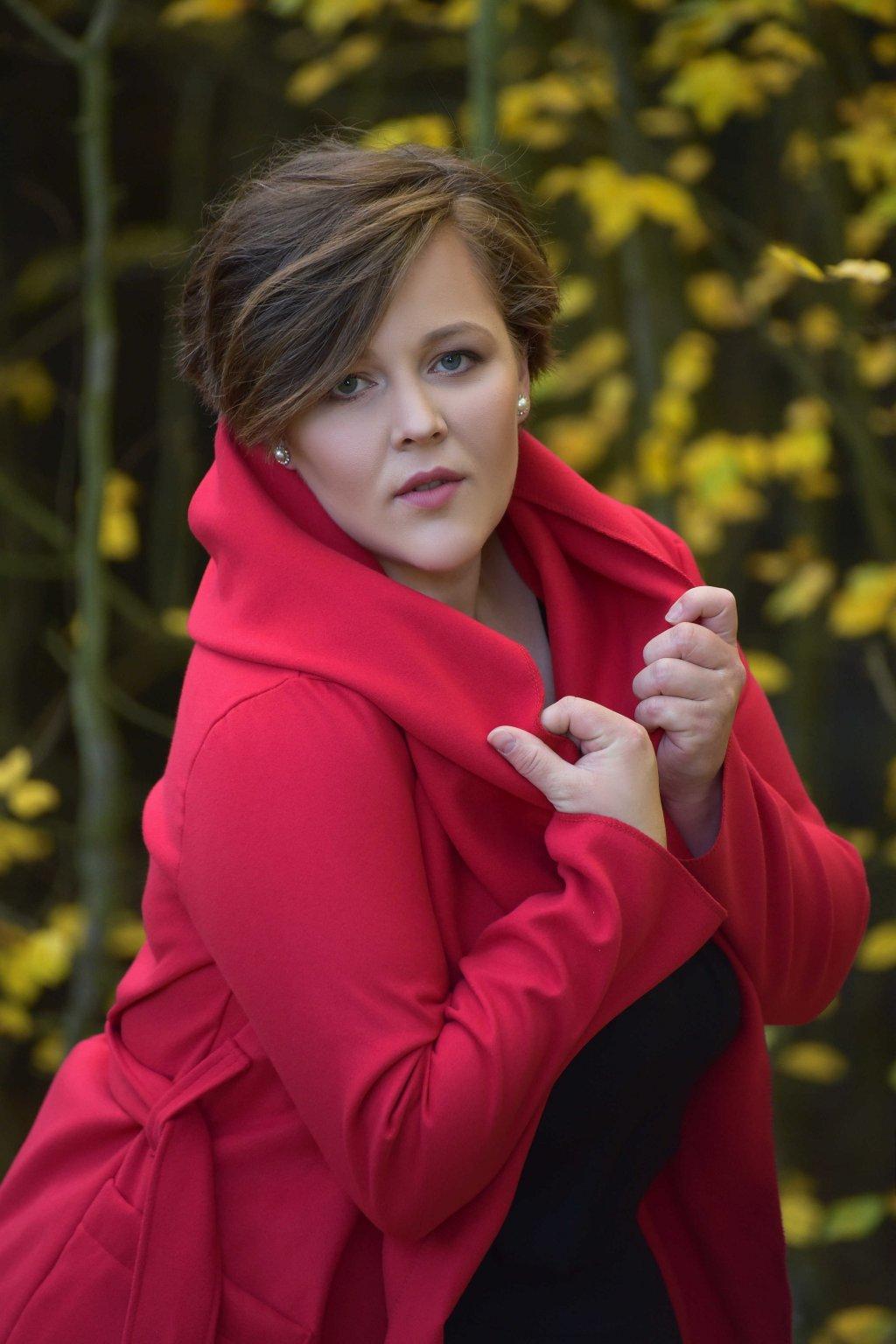 Dámský flaušový kabát červený 16