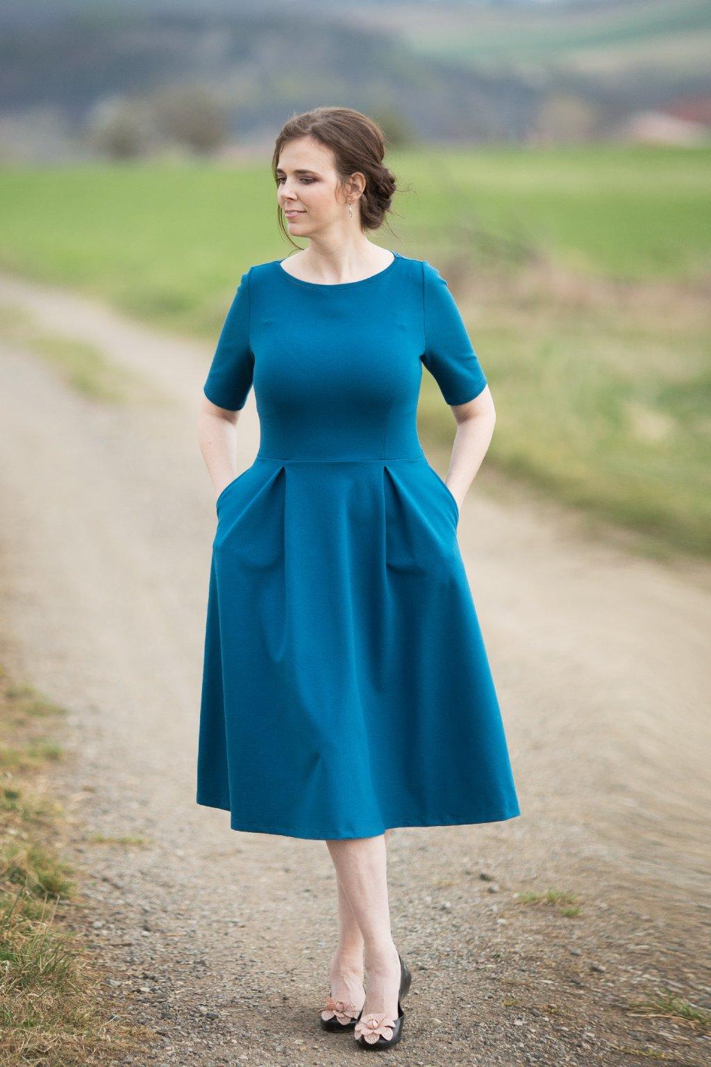 Dámské šaty Paola Bellazu petrolejové 4
