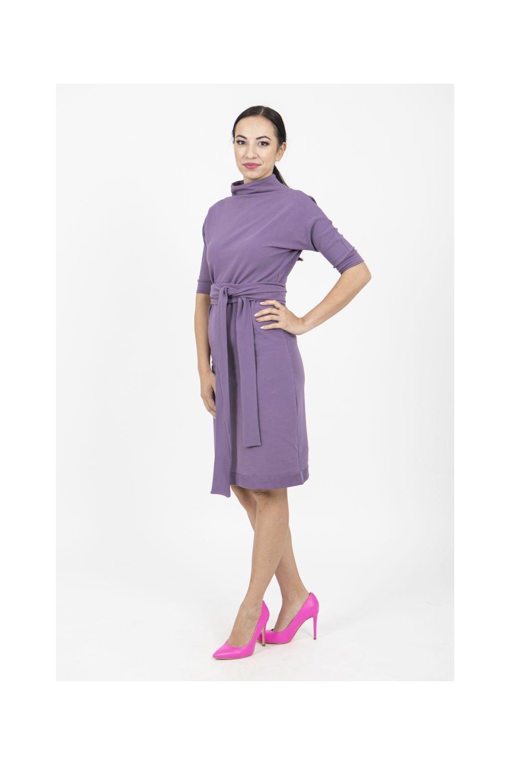 Zavinovací šaty reglán fialové