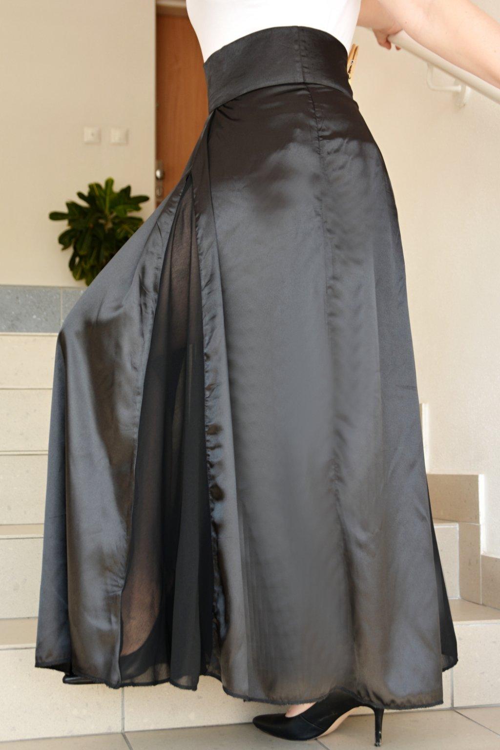 Dlouhá saténová sukně Lisa s šifonovými rozparky 2