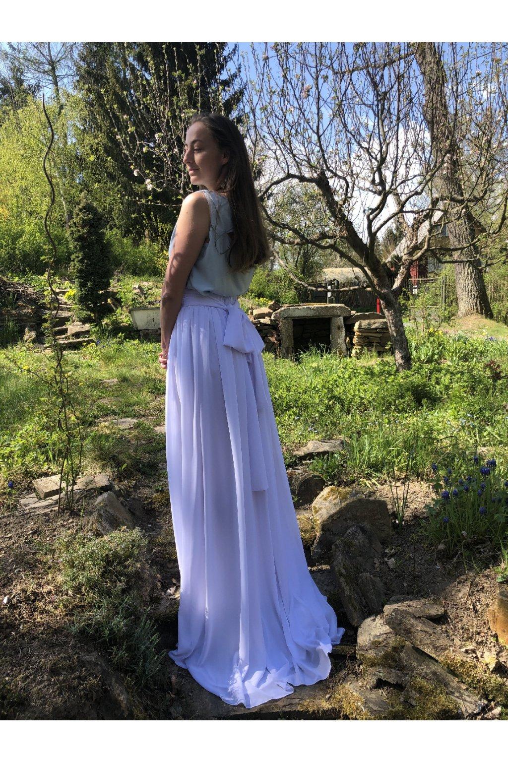 Dlouhá svatební šifonová sukně Love s mašlí 5