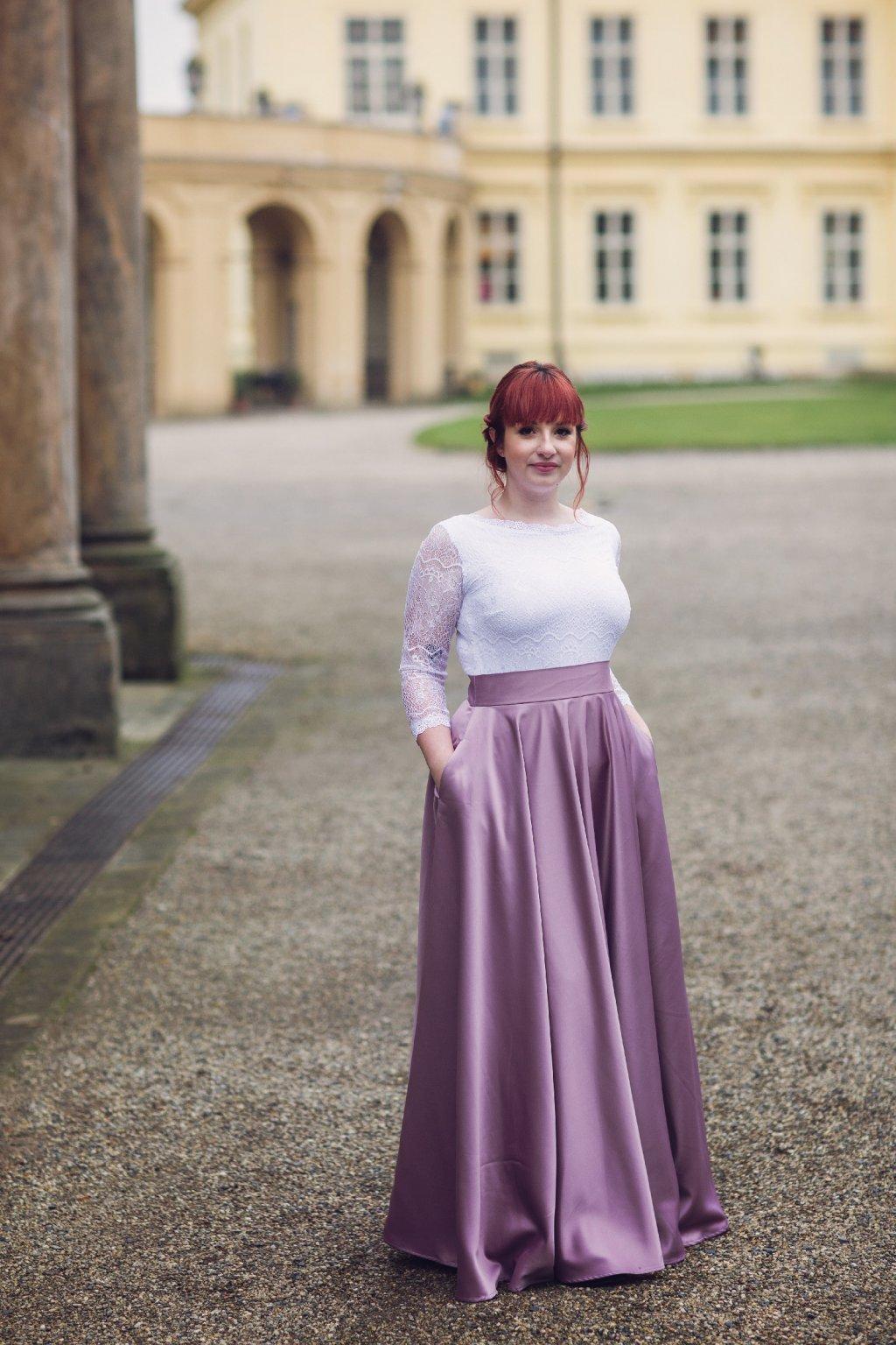 Saténová dlouhá sukně Rosie šeříková 1