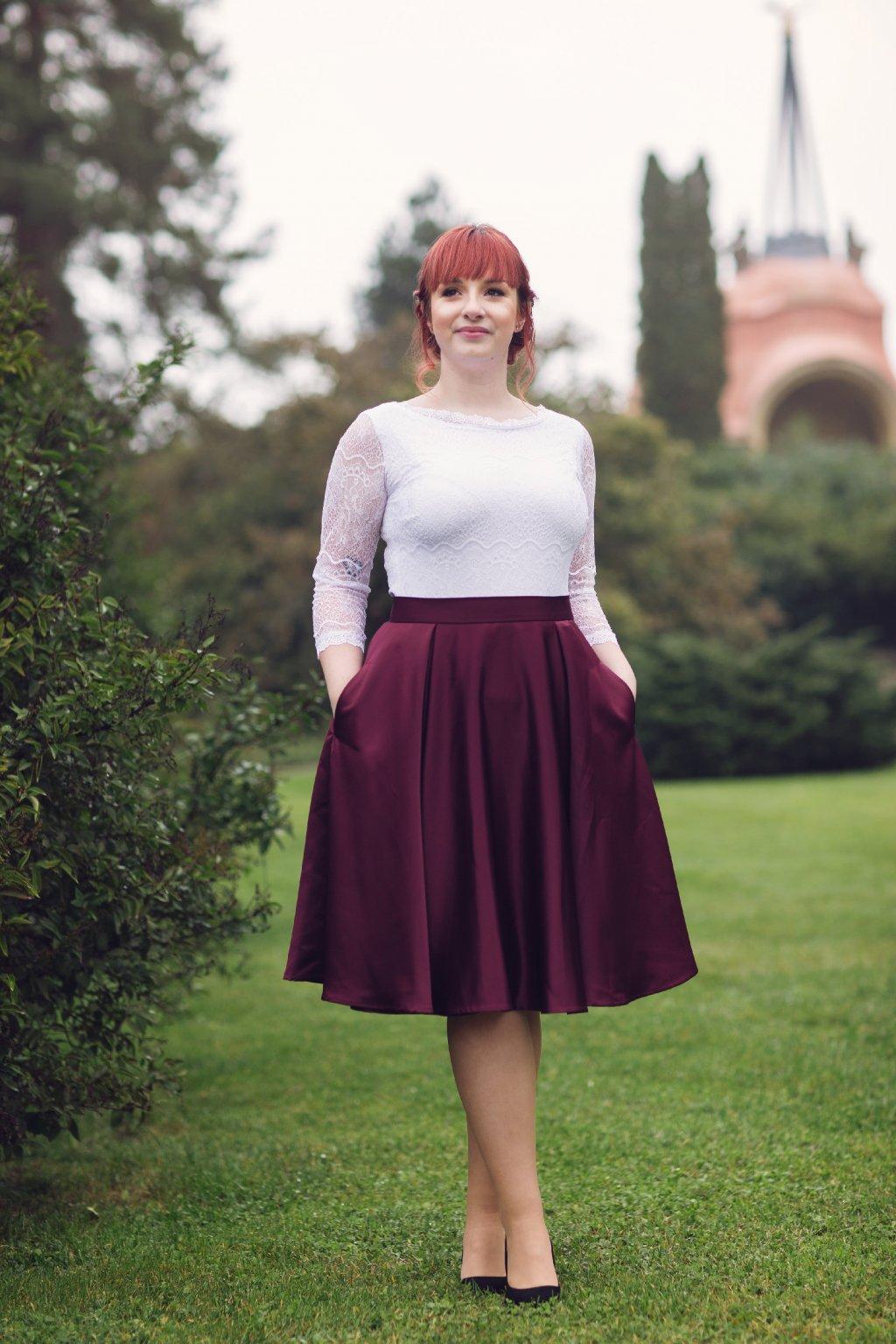 Saténová sukně Rosie bordó 7