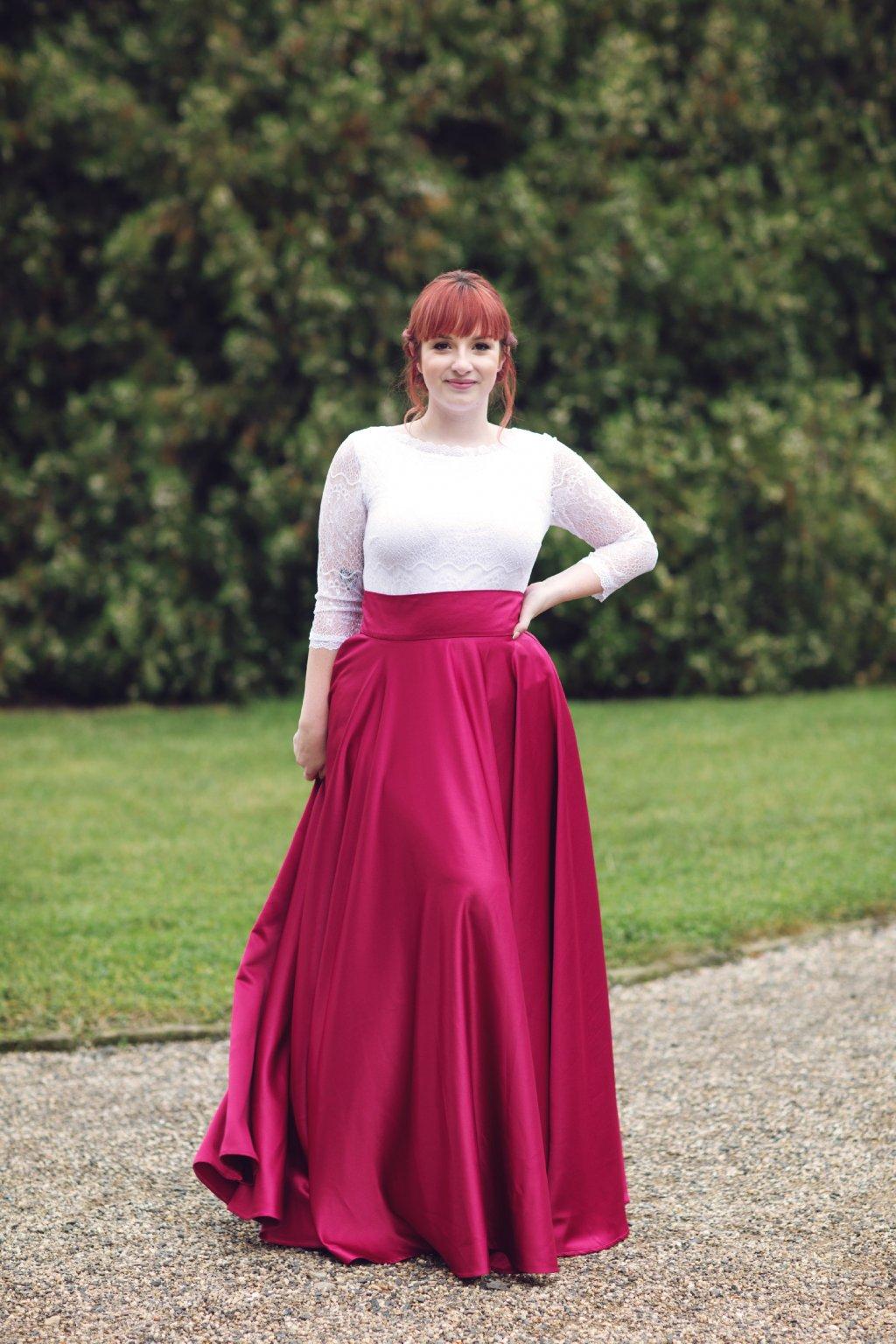 Saténová dlouhá sukně Rosie vínová 5