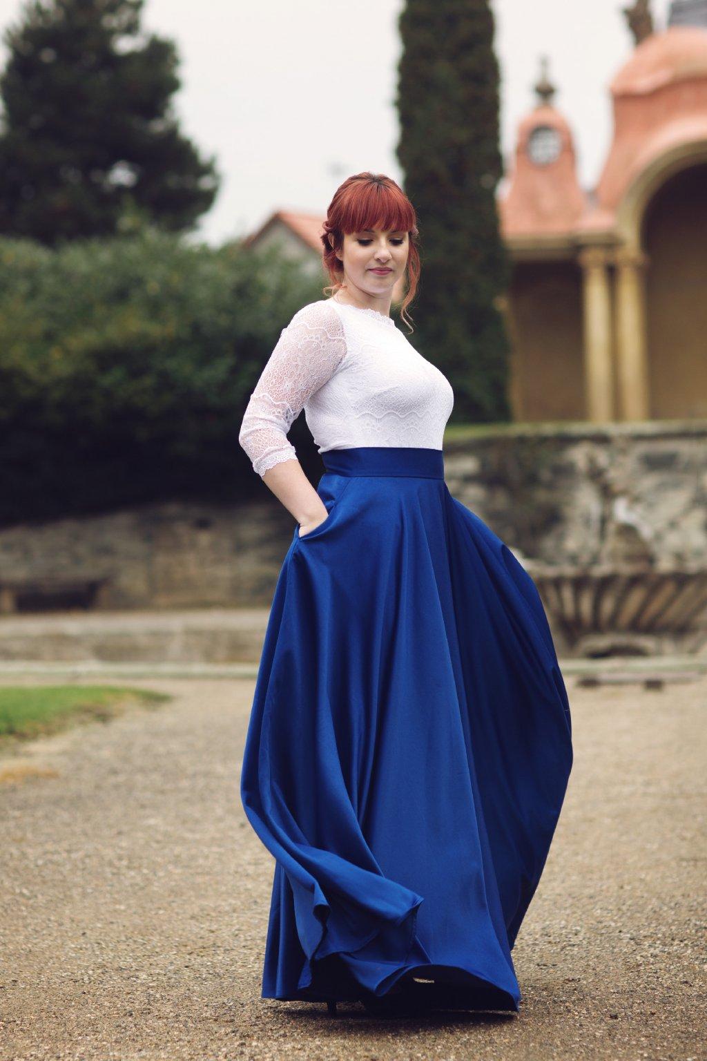 Saténová dlouhá sukně Rosie královská modrá 1