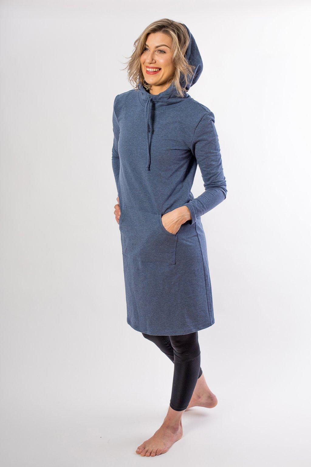 Mikinové šaty Sporty s kapucí a klokanní kapsou