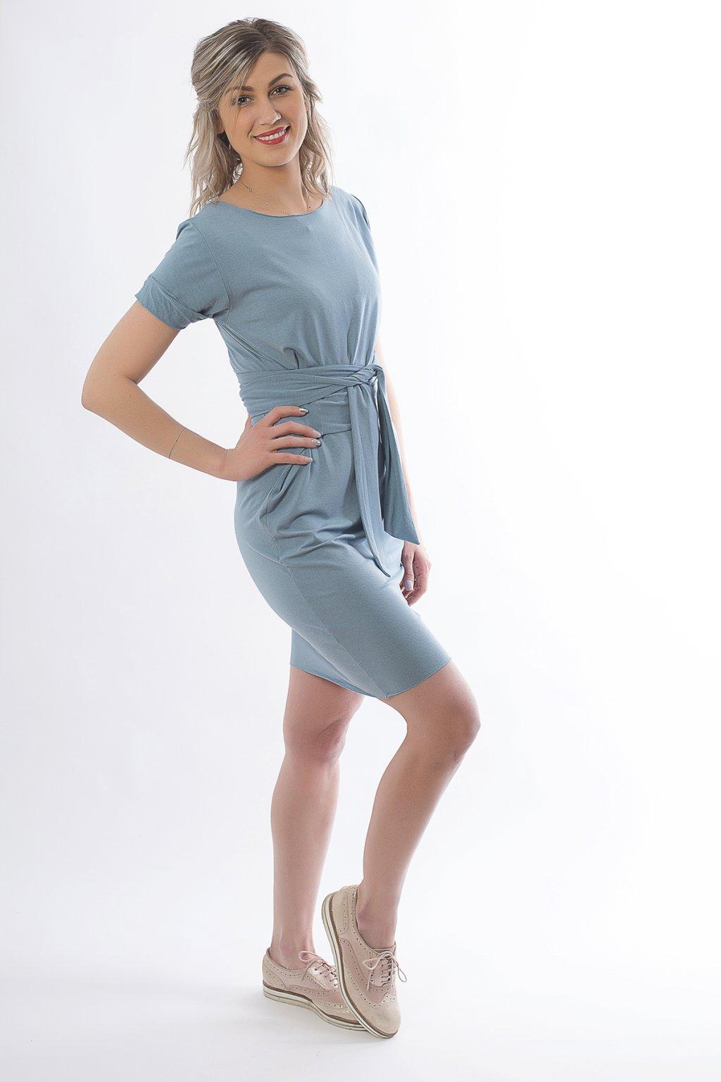 Krátké zavinovací šaty s krátkým rukávem 3