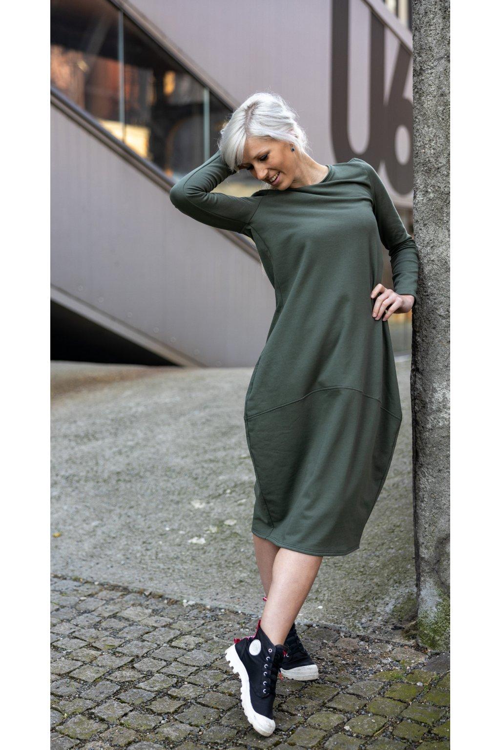 Dlouhé šaty Wendy khaki 1