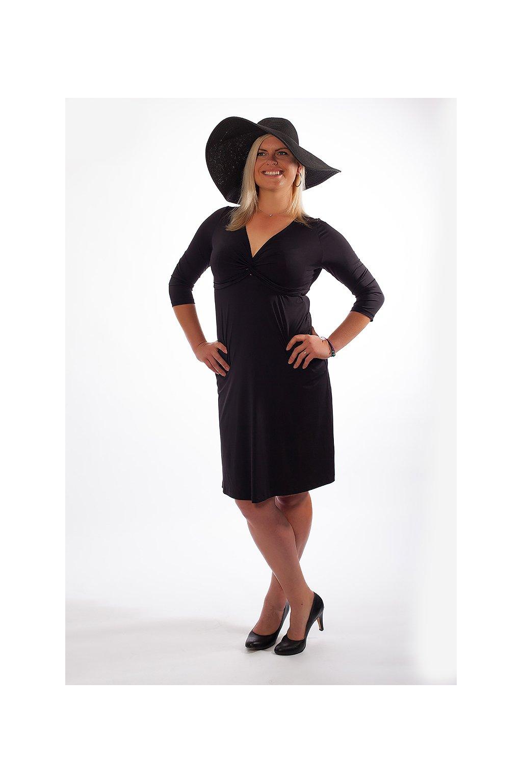 Klasické šaty Bellazu s hlubokým výstřihem černé 1