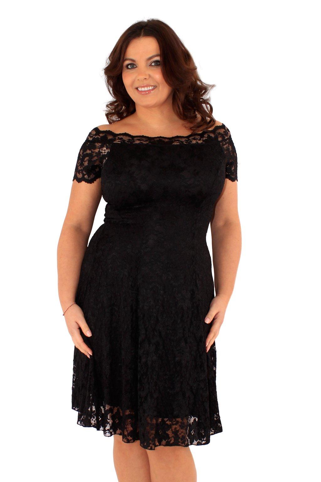 Krajkové šaty Fancy s odhaleným dekoltem černé 1