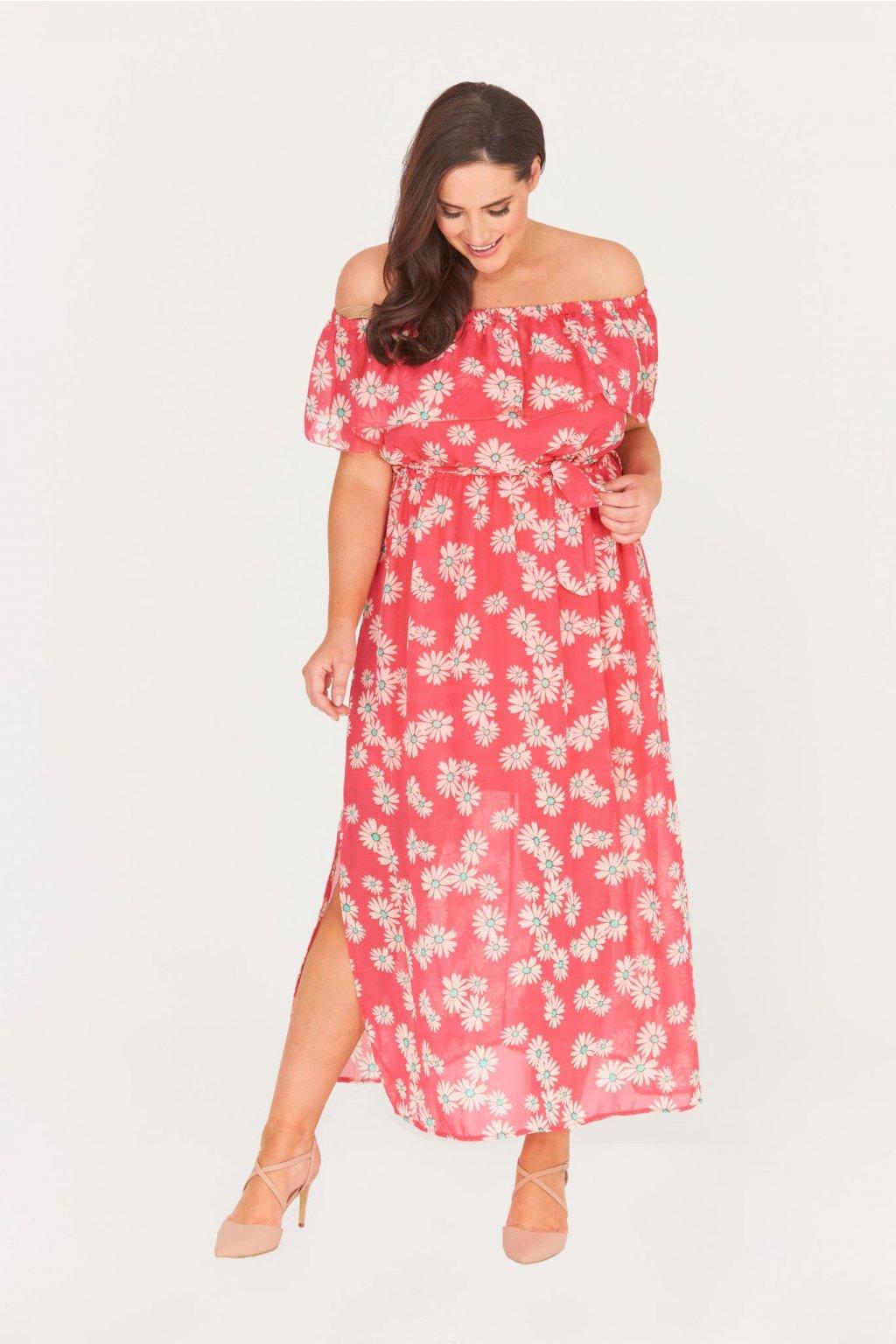Dlouhé šaty Chaos s průsvitnou sukní červené 1