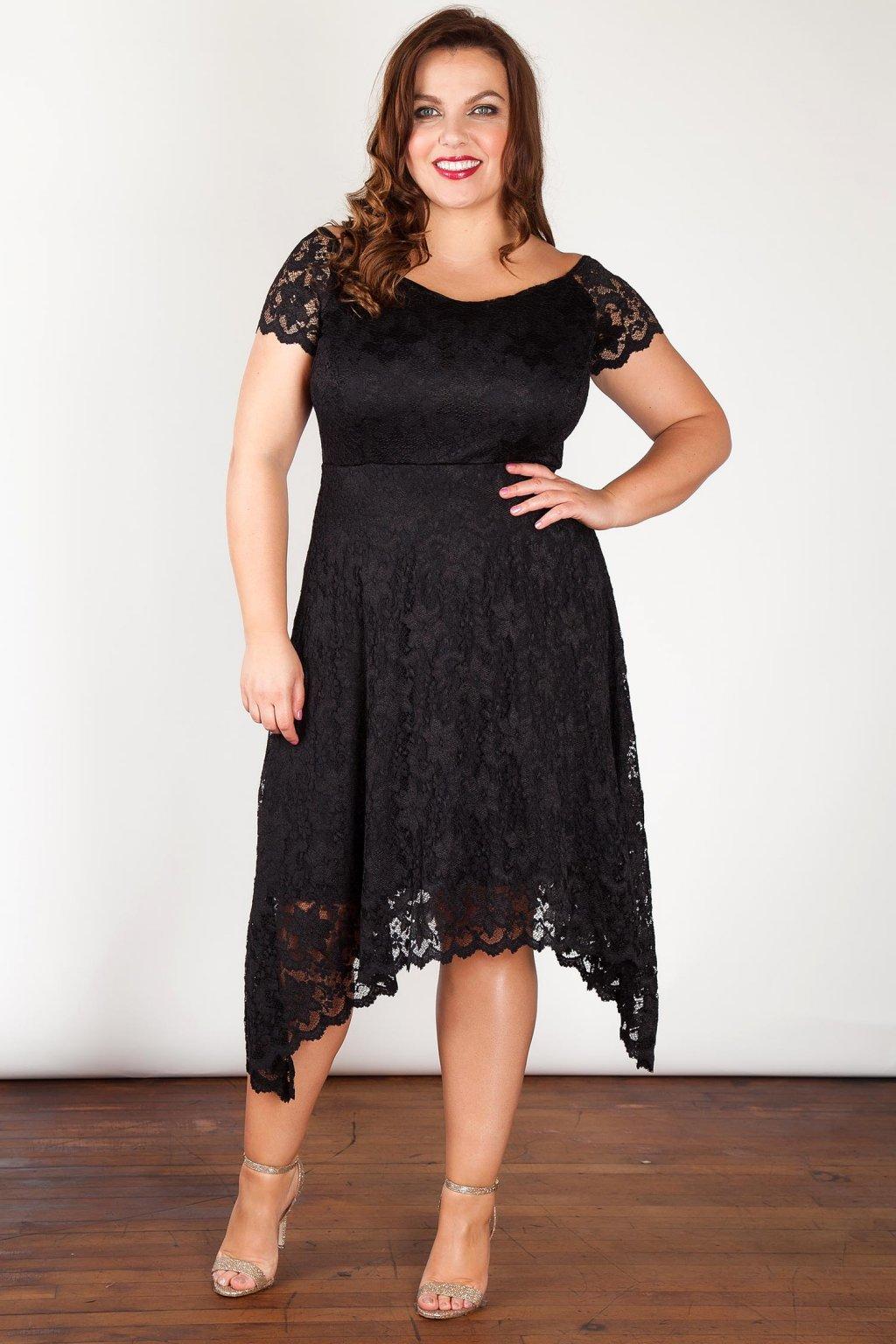 Krajkové šaty Rain s asymetrickou sukní černé 1